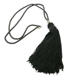 Monet Black & Rhinestone Detail Tassel Necklace